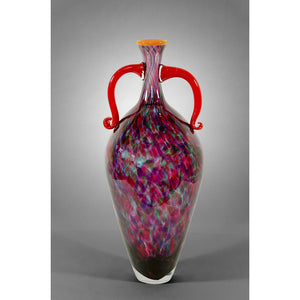 Attitude vase with jewel tone colors and red handles