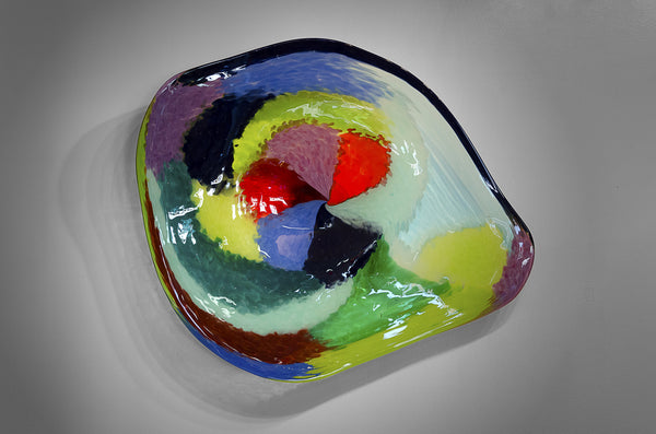 Large irregular shaped Expressions wall platter in blues, greens, red, orange, purple & yellow