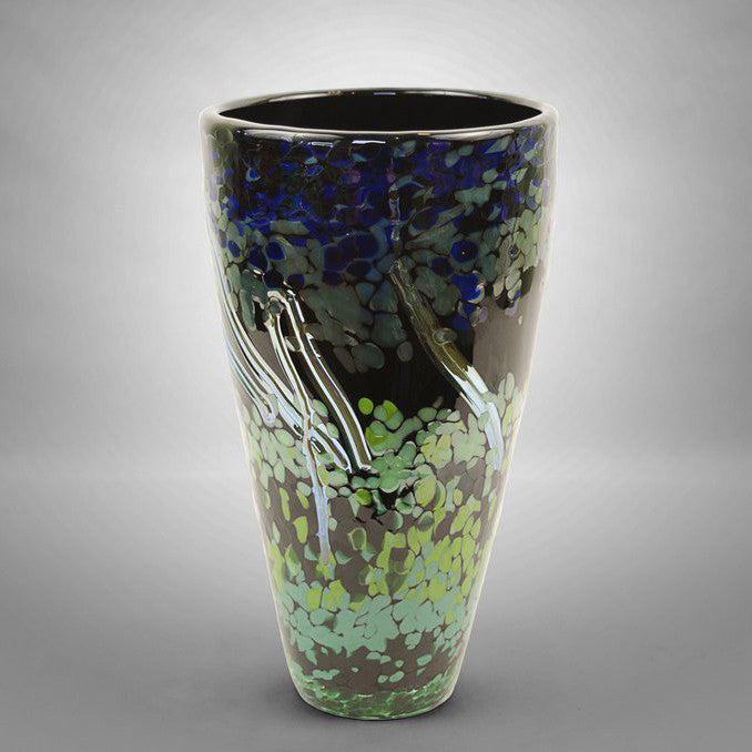 Black hand blown glass tapered nature vase with blue, green and silver