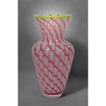 Glass Pineapple Fibonacci vase in pink and white colors with green rim