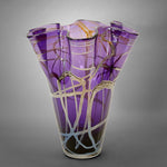 Purple fluted vase with iris gold (silver) swirls