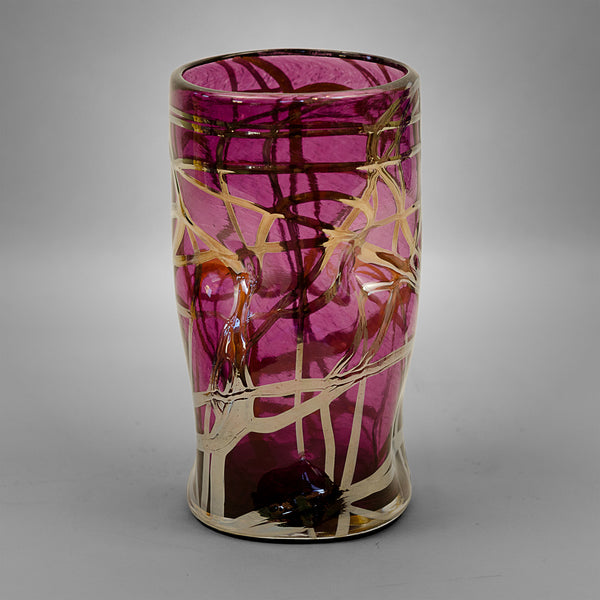 Purple Picasso drinking glass with silver swirls