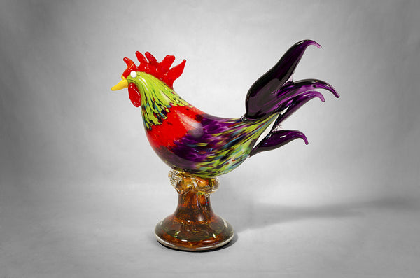 Glass rooster with assorted colors / Gallo de cristal