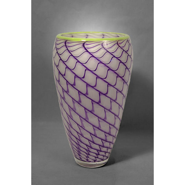 Tapered glass Pineapple Fibonacci vase in purple and white colors with green rim