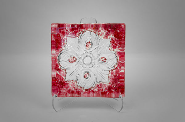 San Antonio City Logo Rose Window Glass Tile in ruby color