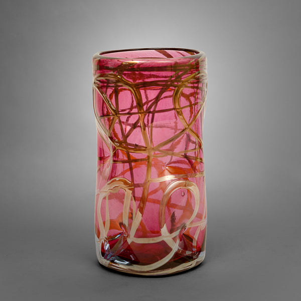 Ruby Picasso drinking glass with silver swirls