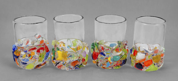 Multi-colored chunks on base with clear glass - short size