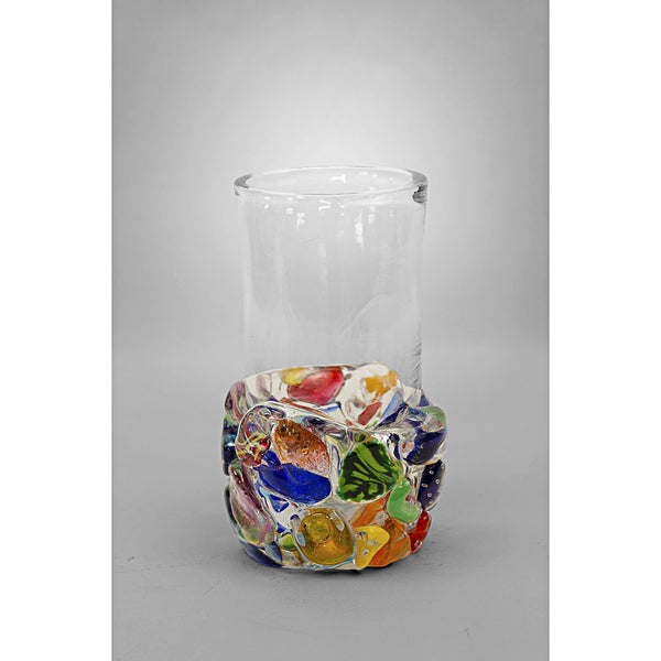 Multi-colored chunks on base with clear glass - tall size