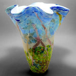 White hand blown glass fluted nature vase with blue, green and silver