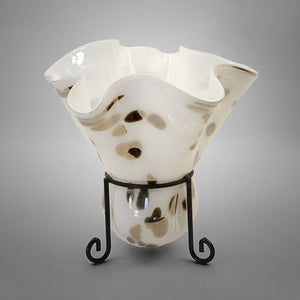 Fluted candleholder blown into metal stand in white with silver spots - short stand