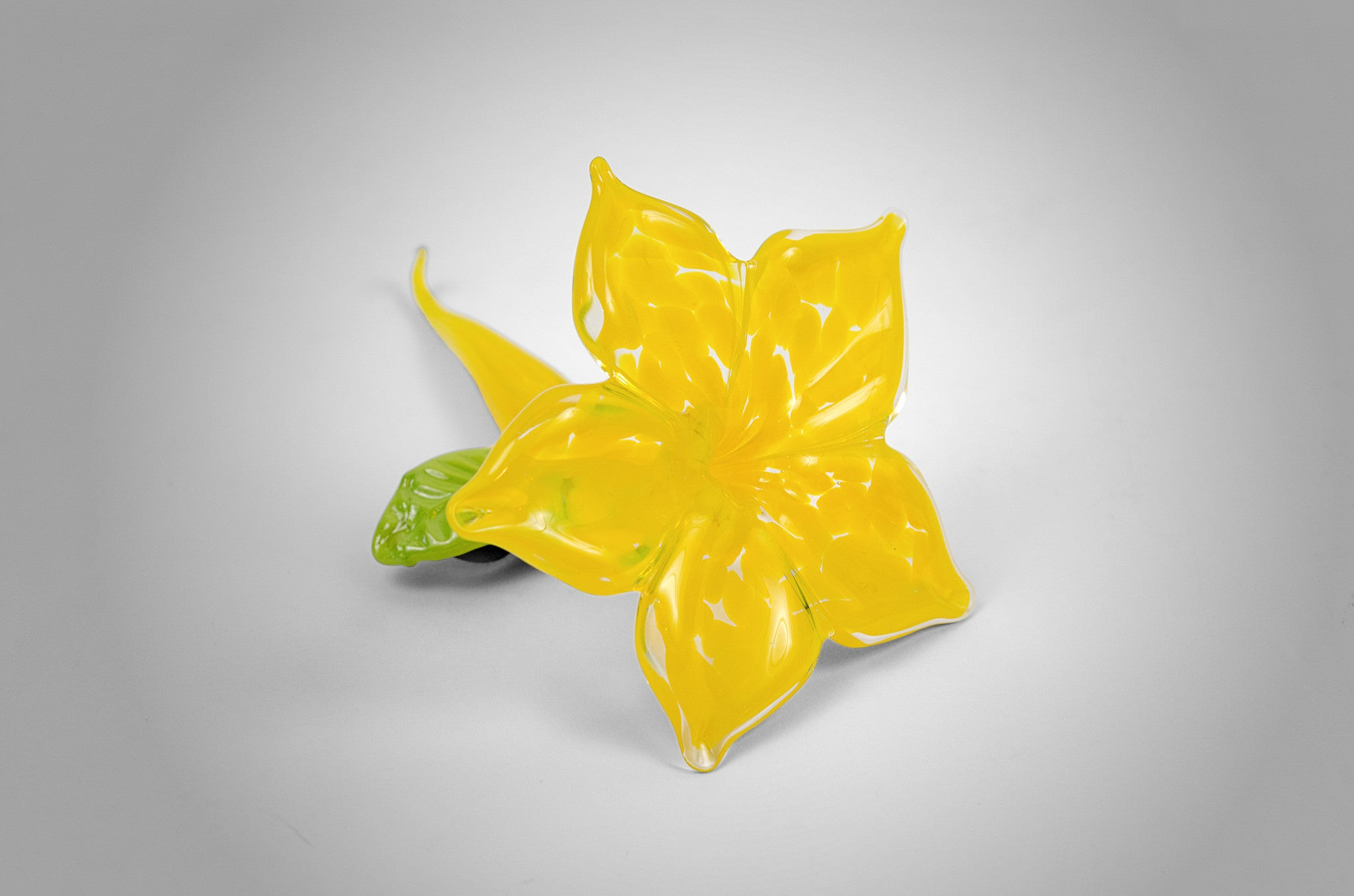 Small unique handmade glass accent flower in yellow color