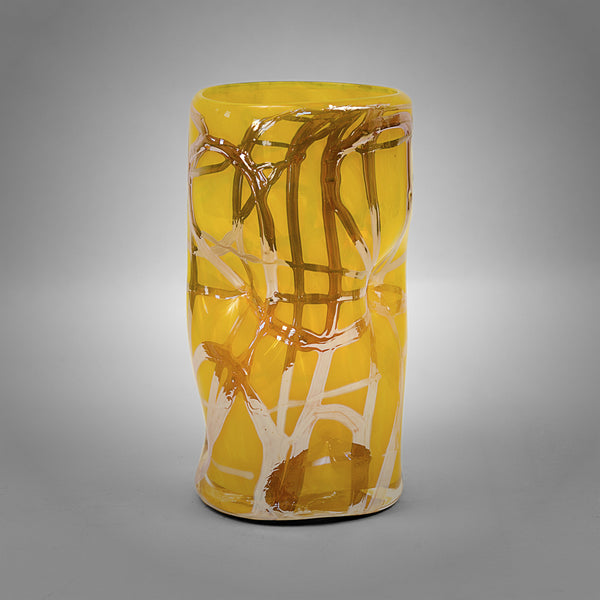 Yellow Picasso drinking glass with silver swirls