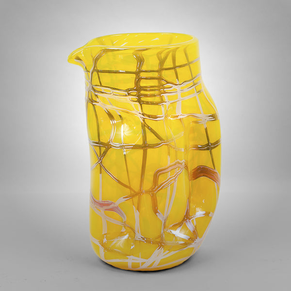 Yellow Picasso drinking pitcher with silver swirls