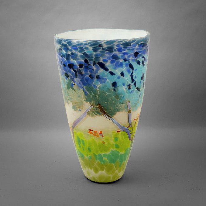 White hand blown glass tapered nature vase with blue, green, red and silver