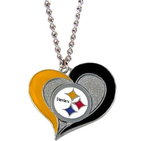 STEELERS NFL SWIRL HEART TEAM NECKLACE