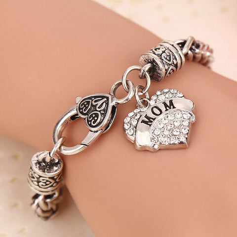 New Charm Crystal Heart Love MOM Bracelet Gift