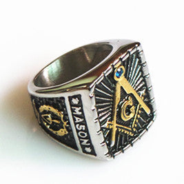 Stainless Steel Antique Style Mason Master Symbol Ring