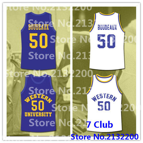 "#50 Shaquille O'Neal Neon Boudeaux Western University ""Blue Chips"" Basketball Jersey"