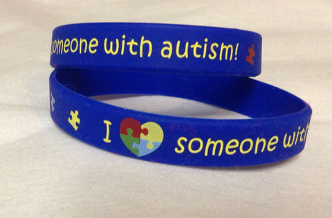 I Love Someone With Autism Silicone Bracelet Adult and Child Sizes