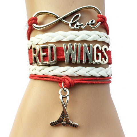 Infinity Love Detroit Red Wings Hockey Bracelet