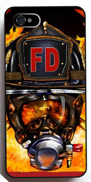 Firefighter Helmet Flames FD HHard Case for Apple Iphone 5 5S 4 4S 6 6plus