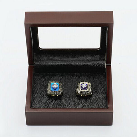 New York Mets 2 Ring Set World Series Championship Rings (1969 and 1986) With Wooden Display Box