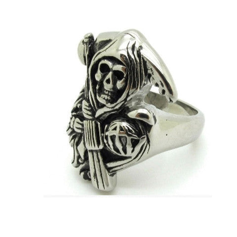 2015 Hot Stunning Soild Silver Stainless Steel Death Sons Of Anarchy Biker Punk Cool Mens Fashion Skull Ring