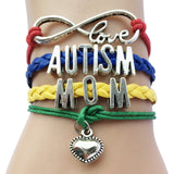 Infinity Love Autism Awareness Heart Charm Leather Handmade Bracelet  ((JUST PAY SHIPPING))