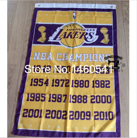 Los Angeles Lakers World Champions Flag 3ft x 5ft Polyester NBA Banner Flying Size