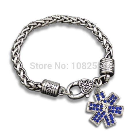 Medical EMT Awareness Snowflake Charm Bracelet
