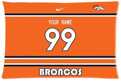 Denver Broncos Custom Pillow Case With Your Own Name and Number