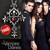 (FREE) VAMPIRE DIARIES RED HEART CRYSTAL CROSS NECKLACE