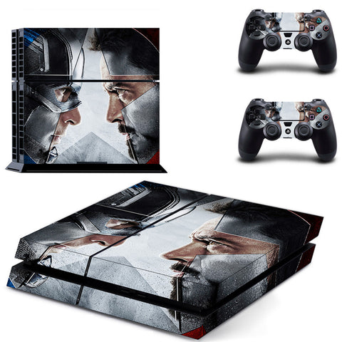 Captain America Civil War Skin PS4 PlayStation 4 and 2 Controllers Protective Skin Cover Stickers