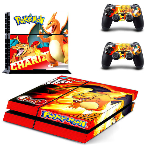 Pokemon Animation Chariz Skin For Sony Playstation 4 Console and 2 Controllers Skin Covers