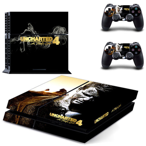 Uncharted 4 Skin Sticker Cover for Playstation 4 Console + Two Controllers