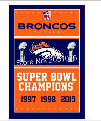 Denver Broncos 3X Super Bowl Banner Flag