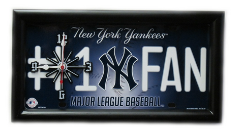 New York Yankees License Plate Themed Clock