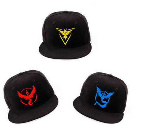 Black Cosplay Pokemon Go Style Team Baseball Hat
