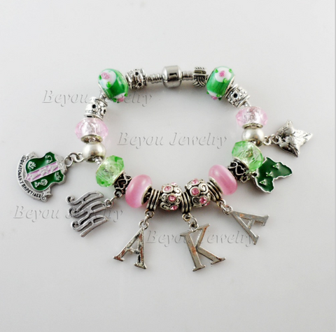 AKA Style and Charm Pendent Sorority Bracelet