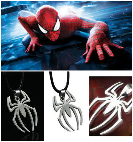 SPIDERMAN SUPER HERO STEEL NECKLACE COSPLAY ANIME LOGO CHAIN PENDANT SILVER