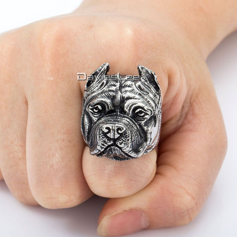 Mens Pitbull Dog Stainless Steel Ring