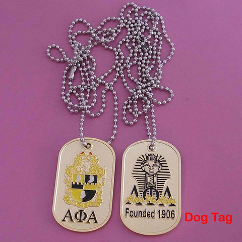 Alpha phi Alpha Fraternity Greek Double Sided Dog Tags Necklace