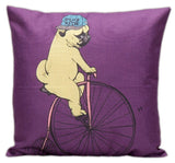 Lovely Pug Dog Cotton Pillow Cushion Cover