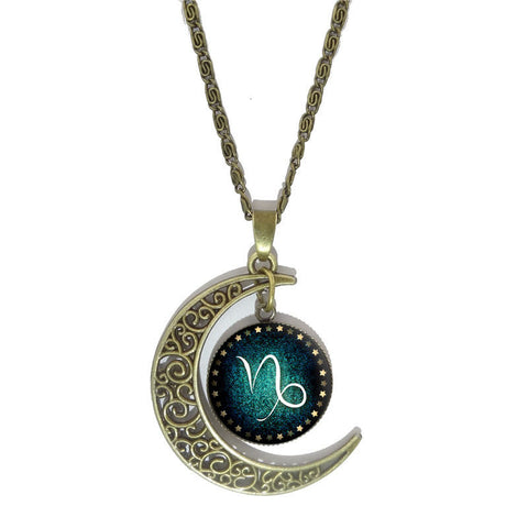 Crescent Moon Vintage Zodiac Constellation Necklace