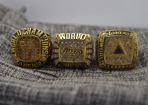 Los Angeles Lakers O'NEAL 3 Championship Ring Set (2000 2001 2002)