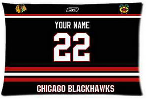 Custom Chicago Blackhawks Hockey Pillow Case With Your Name and Numbers Pillow Cover