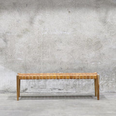 Leather Weave Bench - Tan