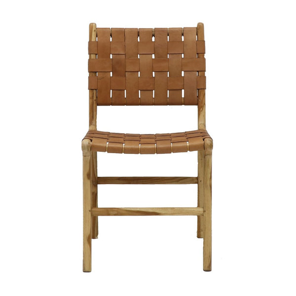 Leather Weave Dining Chair - Tan