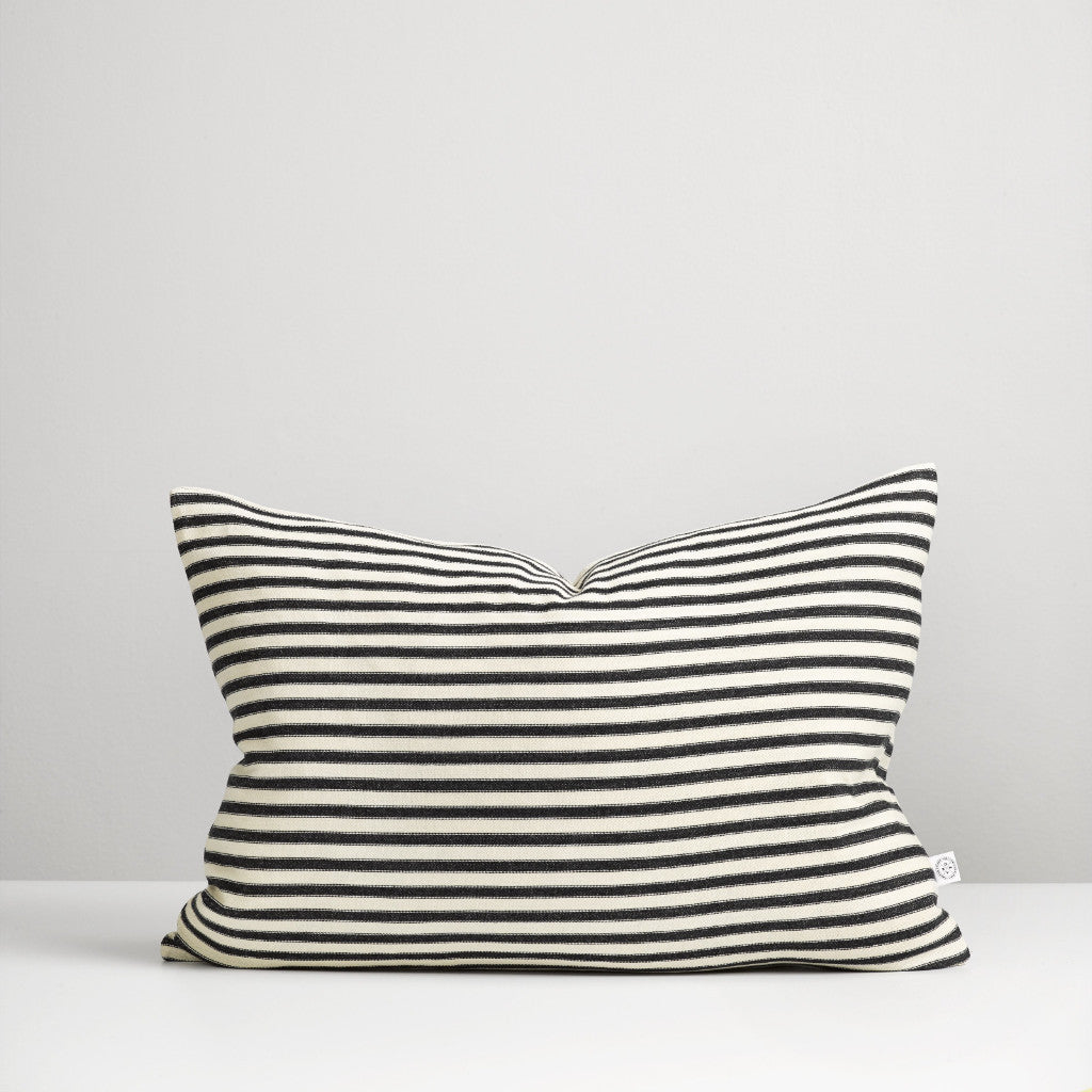 Black ticking stripe cushion