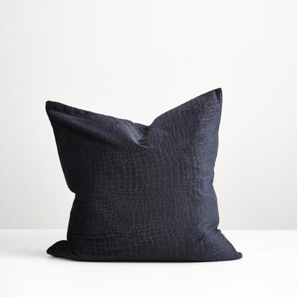 Navy croc cushion